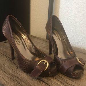Steve Madden Fabric Platform Peep Toe Heels
